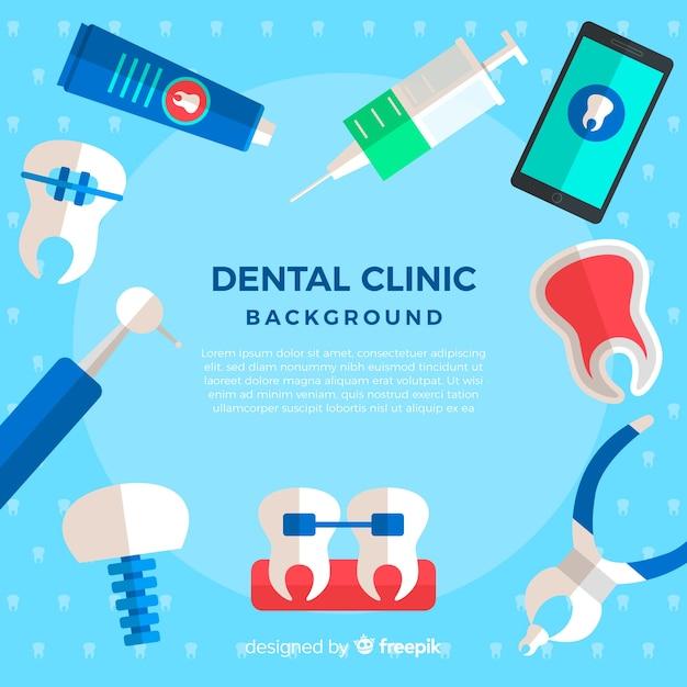 Flacher zahnarzthintergrund Kostenlosen Vektoren