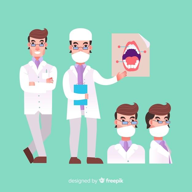 Flacher zahnmedizinischer charakter Kostenlosen Vektoren