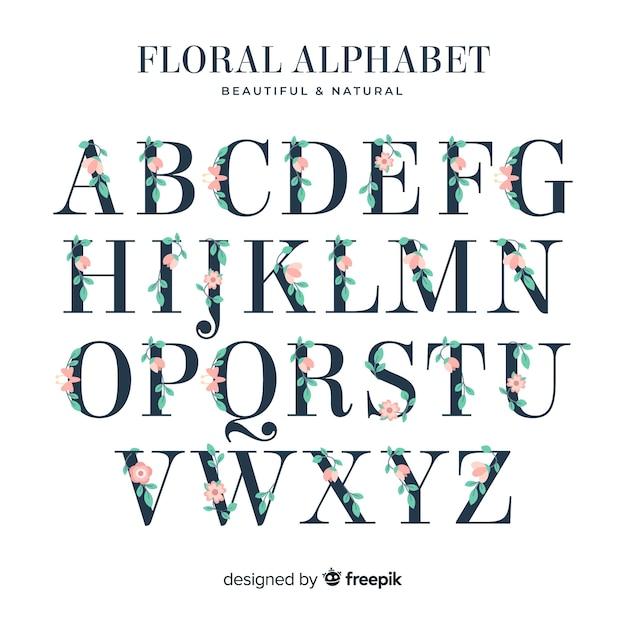 Flaches alphabet mit blumen Kostenlosen Vektoren
