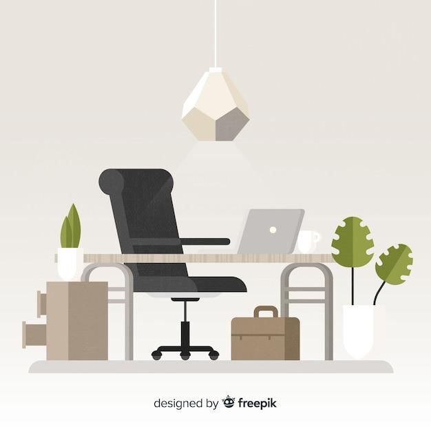 Flaches Arbeitsplatzkonzept mit Schreibtisch und Stuhl Kostenlose Vektoren