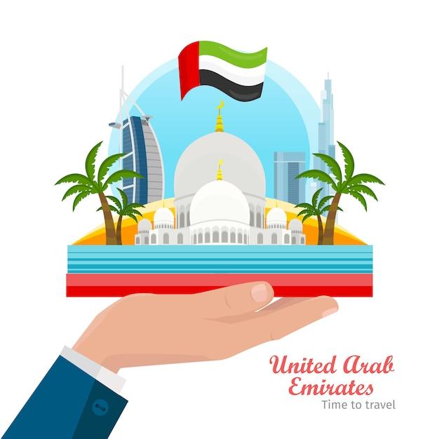 Flaches art-vektor-konzept vereinigter arabischer emirate Premium Vektoren