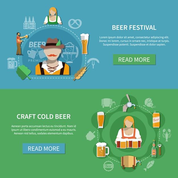Flaches bier banner set Kostenlosen Vektoren