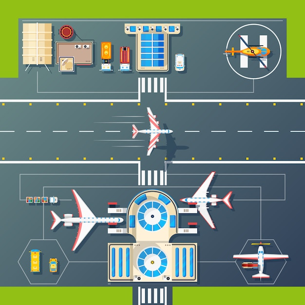 Flaches bild der flughafen-landebahnen Kostenlosen Vektoren