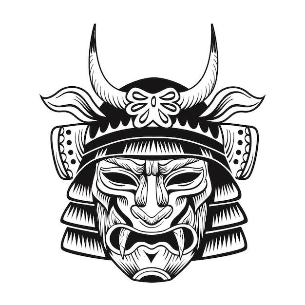 Flaches bild der schwarzen maske der japanischen ninja. japanische traditionelle weinlesekämpfer isolierte vektorillustration Kostenlosen Vektoren