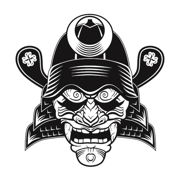 Flaches bild der schwarzen maske der japanischen samurai. traditionelle vektorillustration des traditionellen weinlesekriegers oder der kämpfer-clipart japans Kostenlosen Vektoren