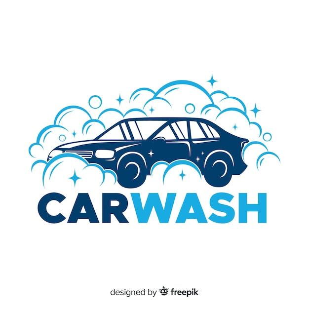 Flaches blaues autowaschlogo Kostenlosen Vektoren