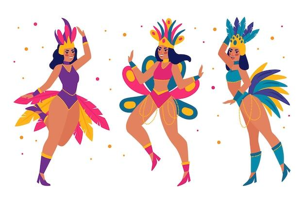 Flaches brasilianisches karnevalstänzerset Premium Vektoren