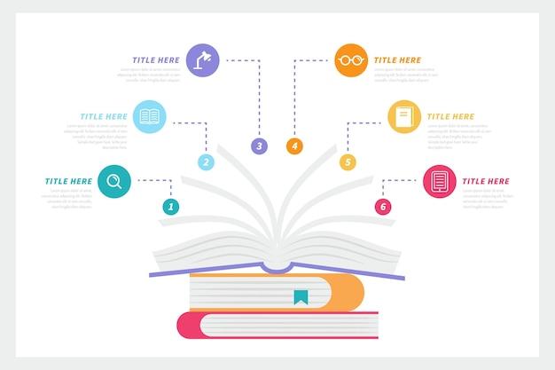 Flaches buch infografiken konzept Kostenlosen Vektoren