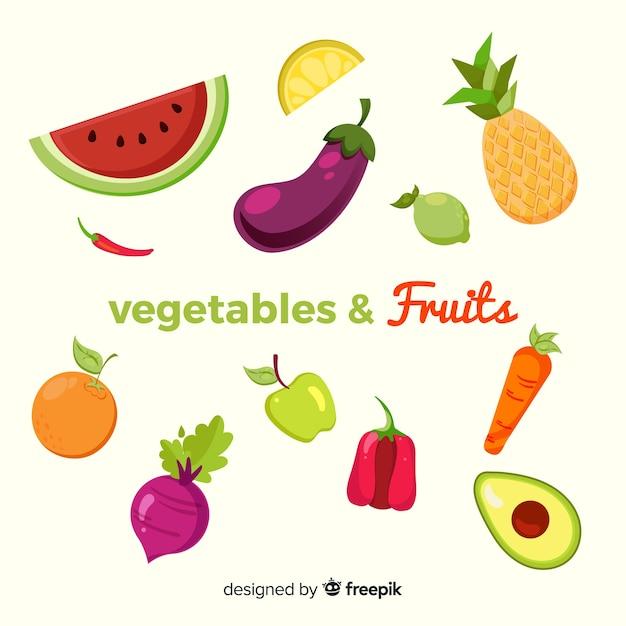 Flaches buntes gesundes nahrungsmittelset Kostenlosen Vektoren
