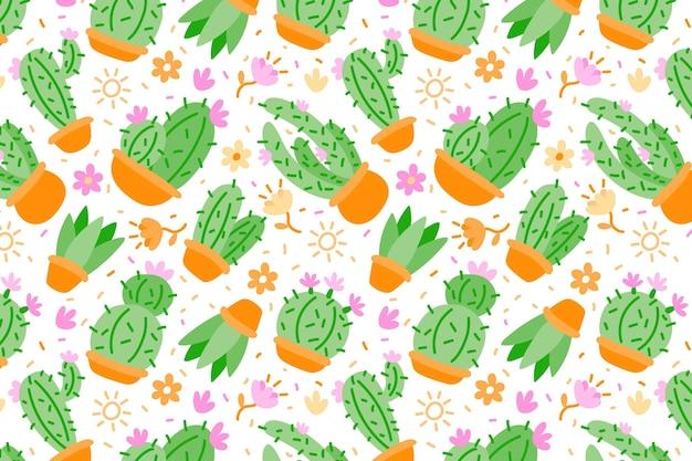 Flaches buntes kaktusmuster Kostenlosen Vektoren