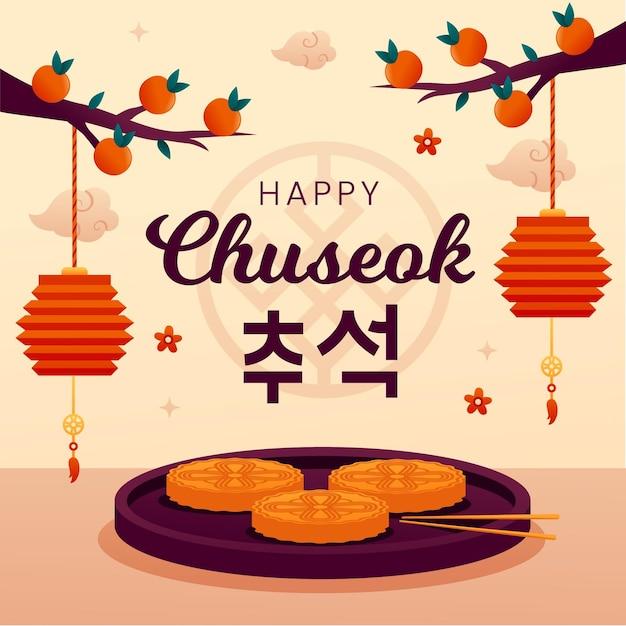 Flaches chuseok-illustrationskonzept Kostenlosen Vektoren