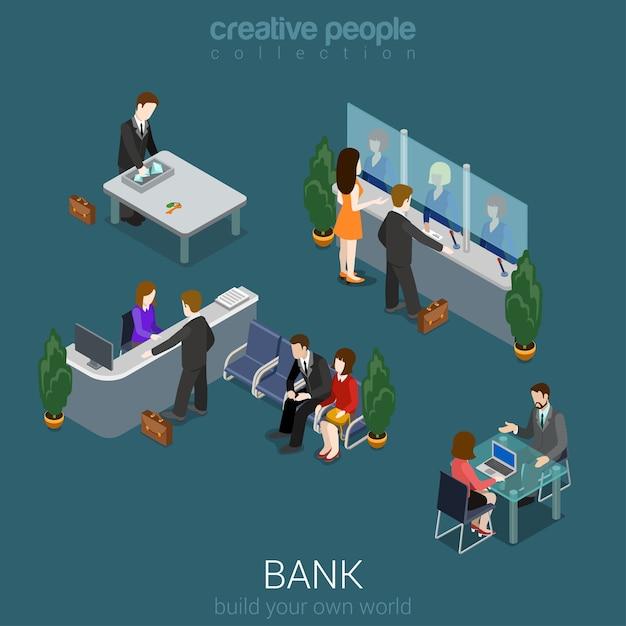 Flaches d isometrisches abstraktes bankbürogebäudebodeninnere Kostenlosen Vektoren