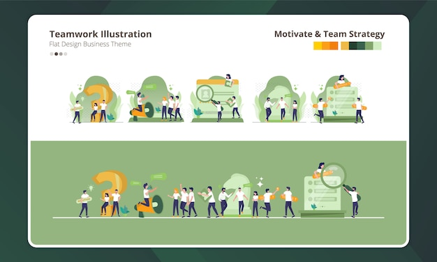 Flaches design auf sammlung der teamwork-illustration, der motivation und der teamstrategie Premium Vektoren