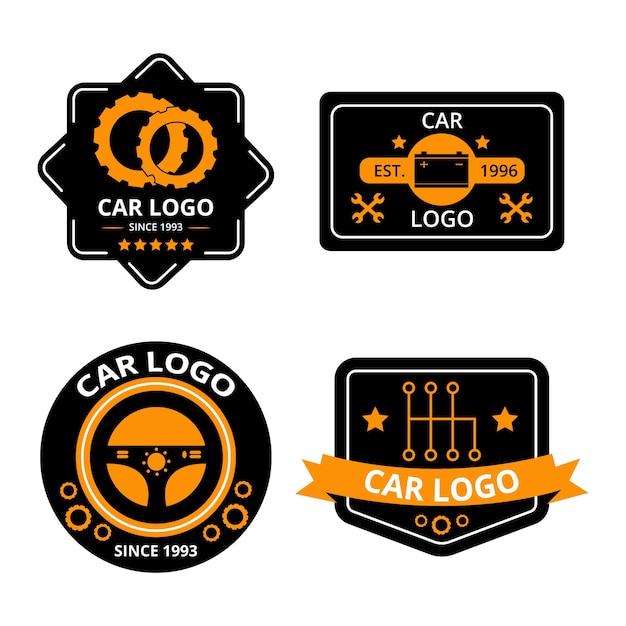 Flaches design auto logo sammlung konzept Kostenlosen Vektoren