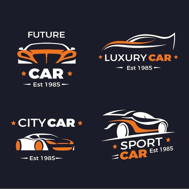 Flaches design auto logo sammlung Premium Vektoren