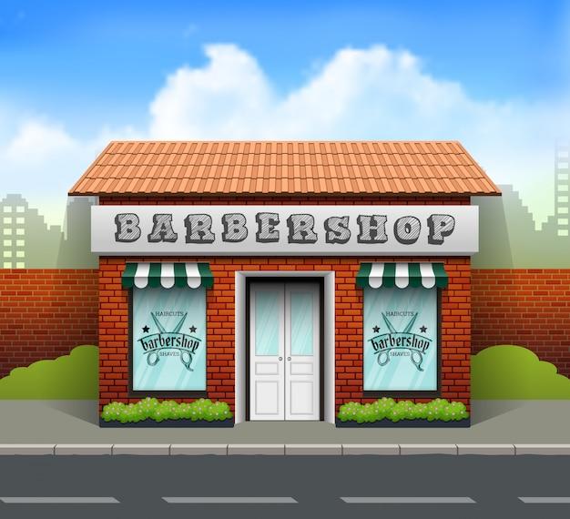 Flaches design-barbershop-geschäft Premium Vektoren