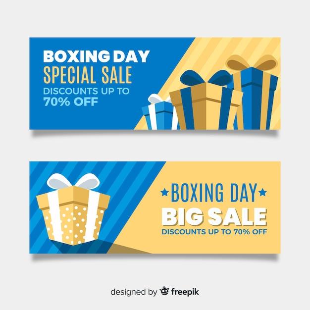 Flaches design boxing day sale banner vorlage Kostenlosen Vektoren