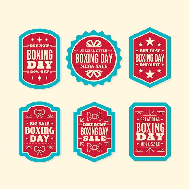 Flaches design boxing day sale label sammlung Kostenlosen Vektoren