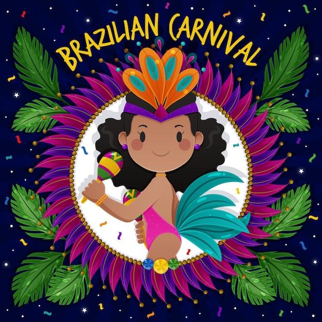 Flaches design brasilianischer karnevalskonzept Kostenlosen Vektoren
