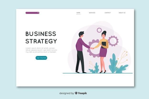 Flaches design business landing page Kostenlosen Vektoren