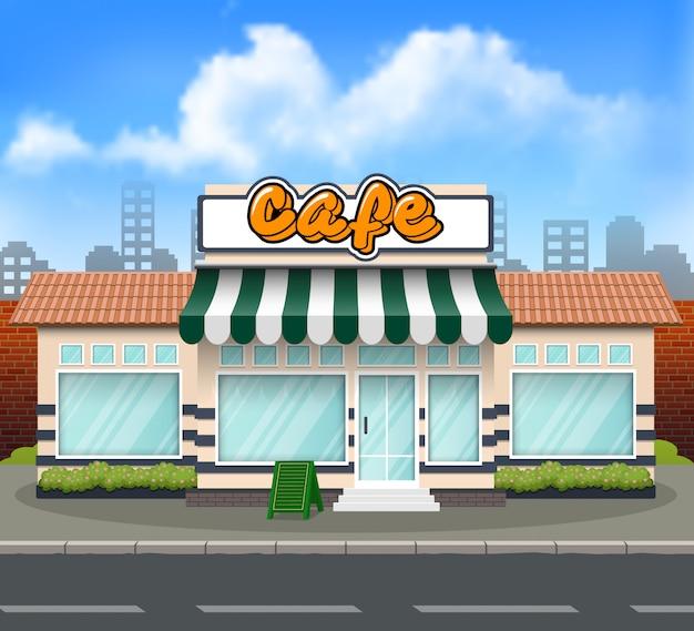 Flaches design cafe-ladenfront Premium Vektoren