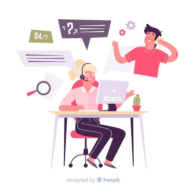 Flaches design-call-center-konzept Kostenlosen Vektoren