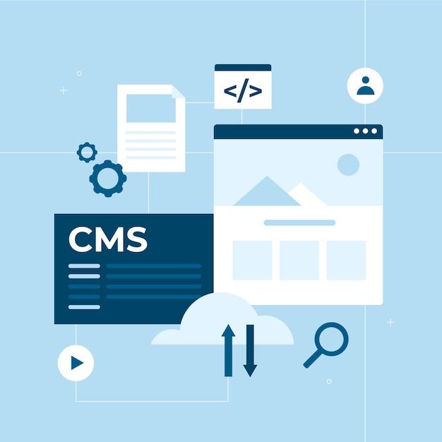 Flaches design-cms-konzept mit offenen apps Kostenlosen Vektoren
