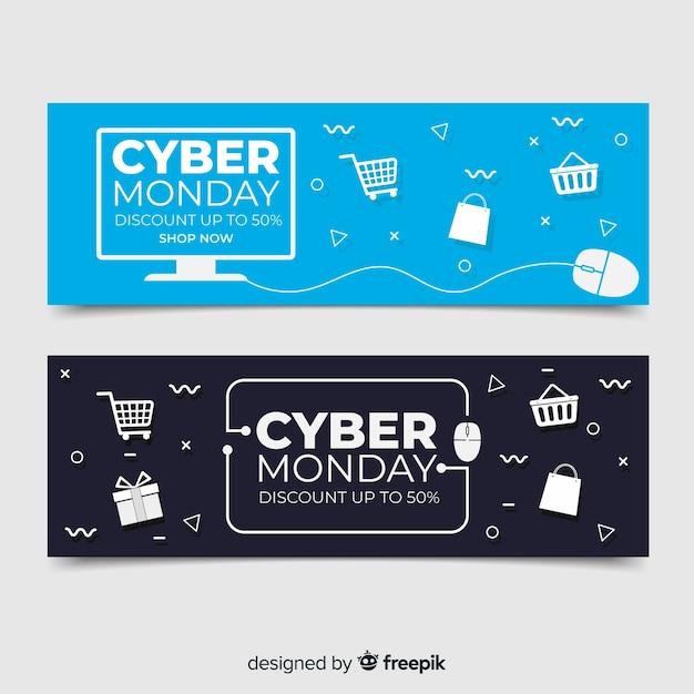 Flaches design cyber montag banner sammlung Kostenlosen Vektoren