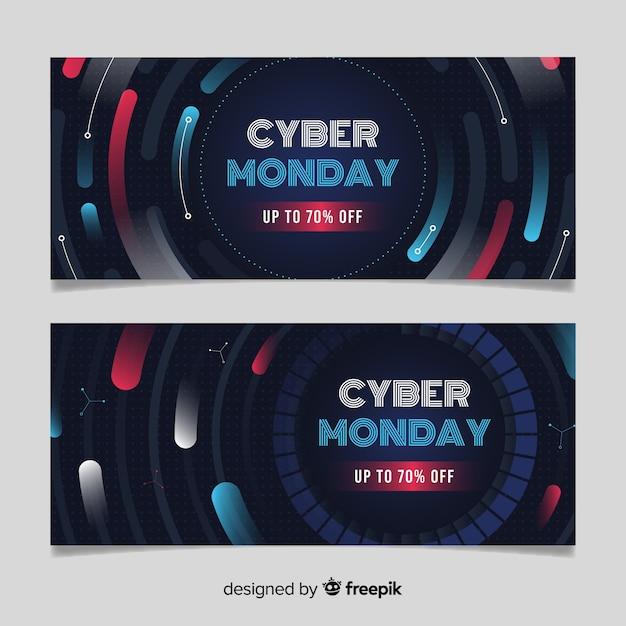 Flaches design cyber montag banner vorlage Kostenlosen Vektoren