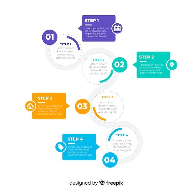 Flaches design der bunten infographic schritte Kostenlosen Vektoren