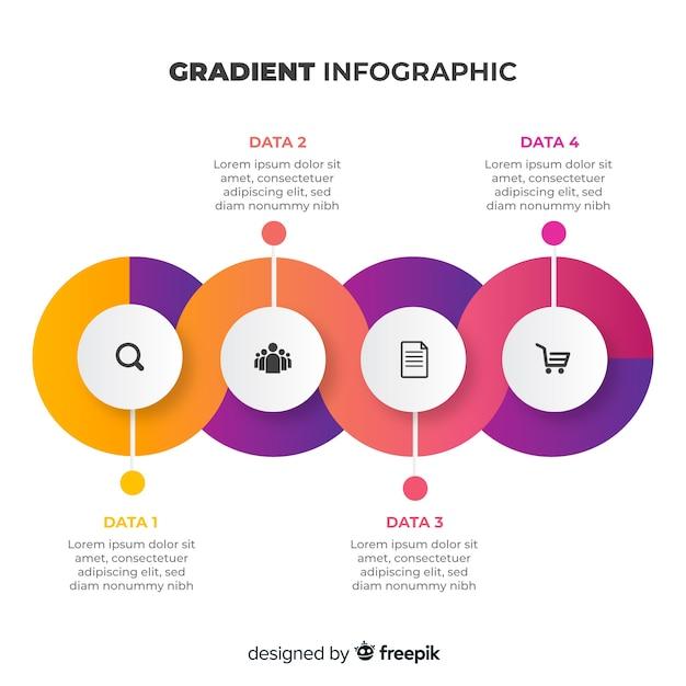 Flaches design der bunten infographic steigung Kostenlosen Vektoren