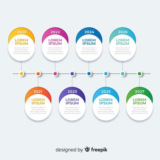 Flaches design der bunten infographic zeitachse Kostenlosen Vektoren