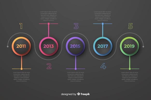 Flaches design der bunten infographics zeitachse Kostenlosen Vektoren