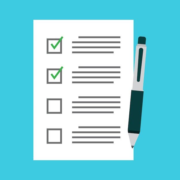 Flaches design der checkliste und des stiftvektors Premium Vektoren