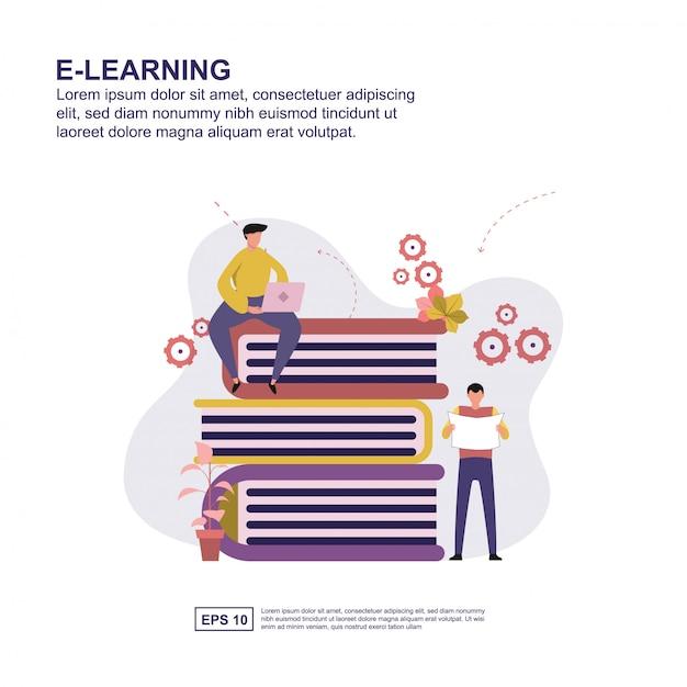 Flaches design der e-learning-konzeptvektor-illustration. Premium Vektoren