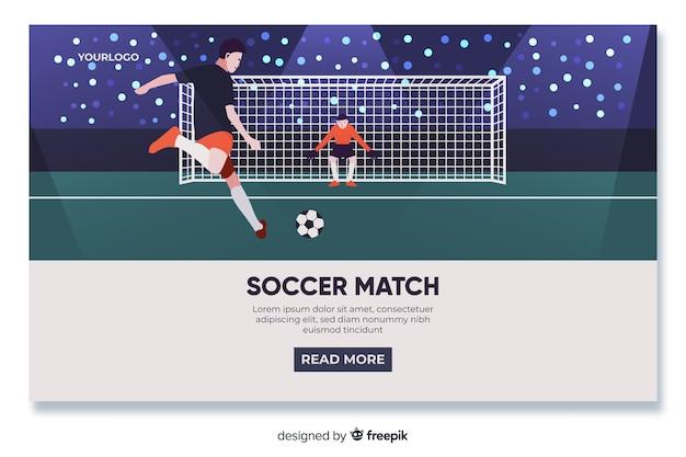Flaches design der fußballlandungsseite Kostenlosen Vektoren