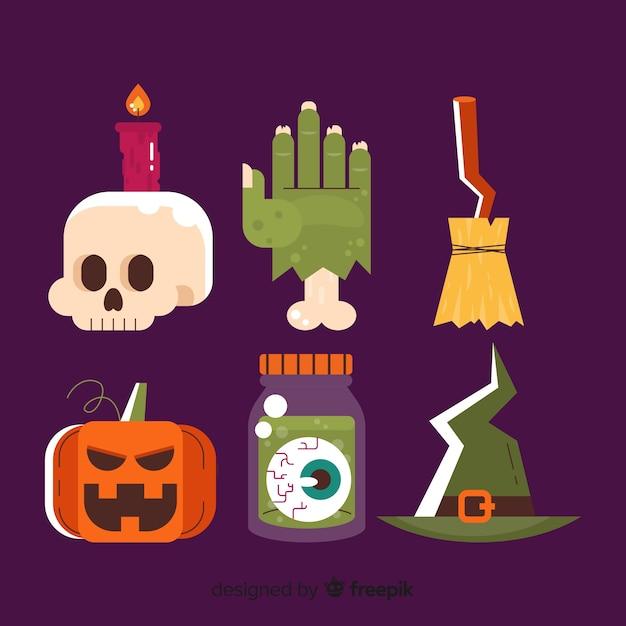 Flaches design der halloween-elementsammlung Kostenlosen Vektoren