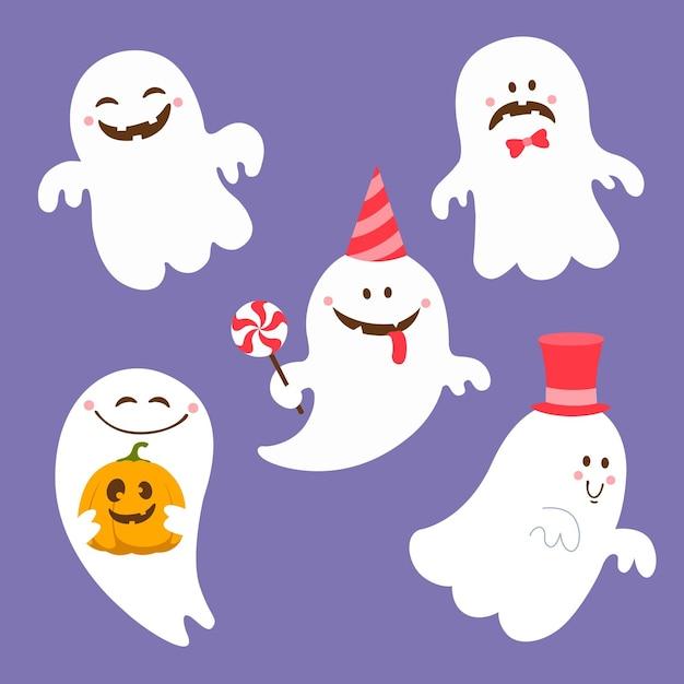 Flaches design der halloween-geistersammlung Kostenlosen Vektoren