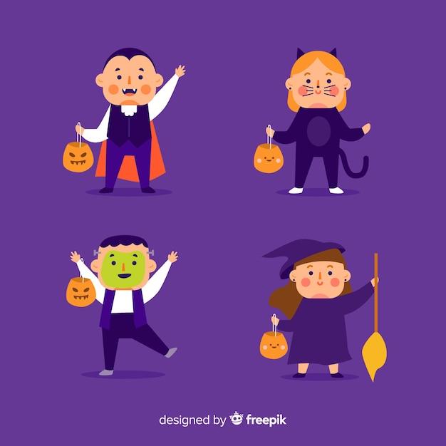Flaches design der halloween-kindersammlung Kostenlosen Vektoren