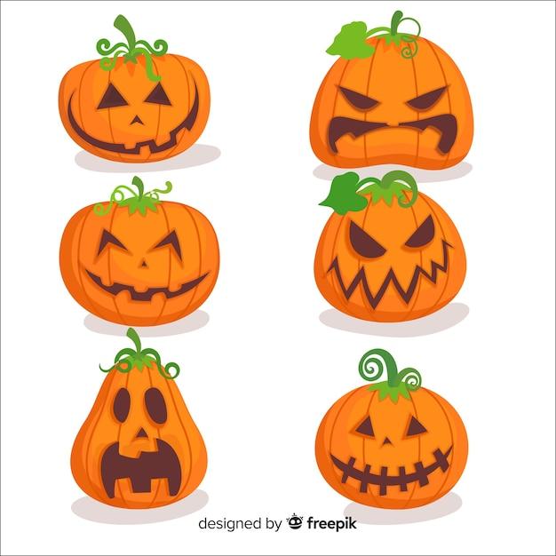 Flaches design der halloween-kürbissammlung Kostenlosen Vektoren