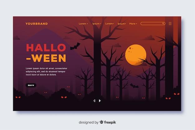 Flaches design der halloween-landungsseite Kostenlosen Vektoren