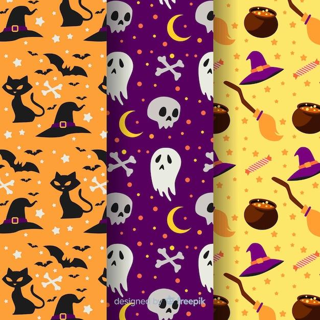 Flaches design der halloween-mustersammlung Kostenlosen Vektoren