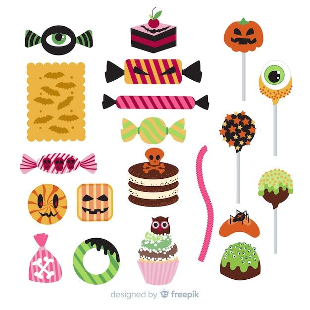 Flaches design der halloween-süßigkeitskollektion Kostenlosen Vektoren