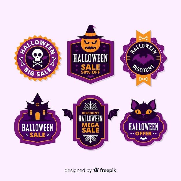 Flaches design der halloween-verkaufsaufklebersammlung Kostenlosen Vektoren