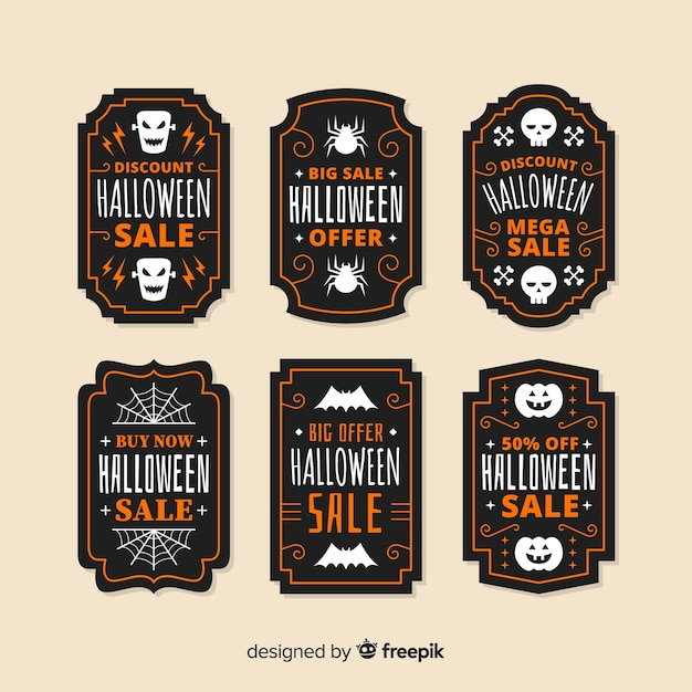 Flaches design der halloween-verkaufsausweissammlung Kostenlosen Vektoren