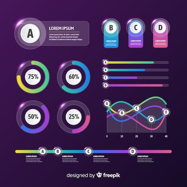 Flaches design der infographic-elementsammlung Kostenlosen Vektoren