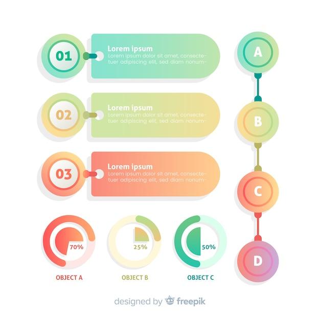 Flaches design der infographic schablone der steigung Kostenlosen Vektoren