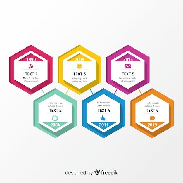 Flaches design der infographic schablone der zeitachse Kostenlosen Vektoren