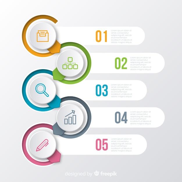 Flaches design der infographic-schrittsammlung Kostenlosen Vektoren