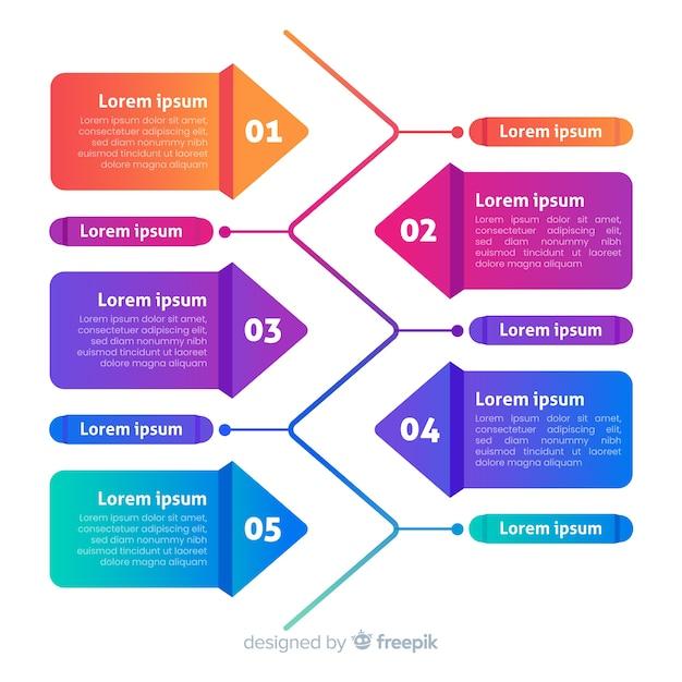 Flaches design der infographic-schrittschablone Kostenlosen Vektoren